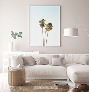 Tropical Palm Trees on the Blue Sky Wall Print