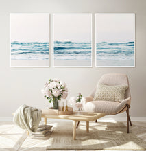 Load image into Gallery viewer, Chair, Flowers and 3 piece blue water wall art