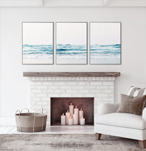 Load image into Gallery viewer, Coastal Triptych Wall Art Above the Fireplace. Ocean Photography