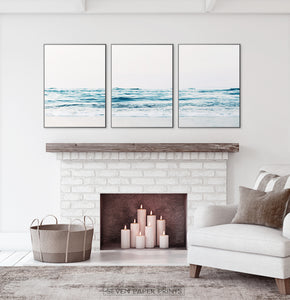 Coastal Triptych Wall Art Above the Fireplace. Ocean Photography