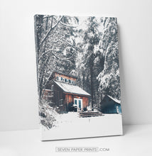 Load image into Gallery viewer, Snowy Cabin in a forest canvas print