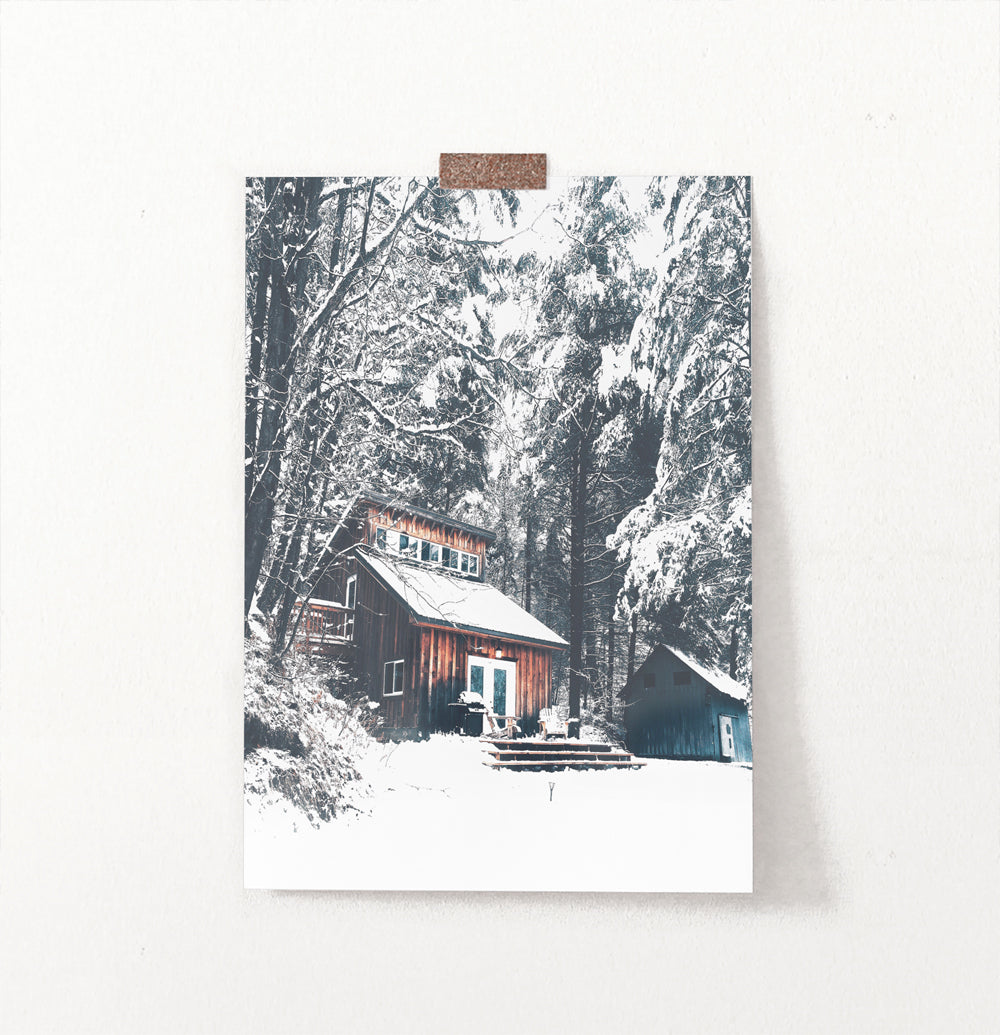 Wonderful Wooden Shack in the Winter Forest Wall Art