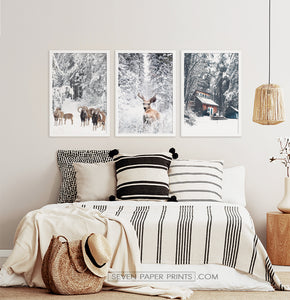 Lovely 3-Piece Set Of Winter Forestside Posters in the bedroom