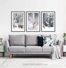Load image into Gallery viewer, Lovely 3-Piece Set Of Winter Forestside Framed Posters above the sofa