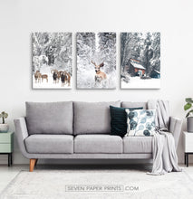 Load image into Gallery viewer, Winter County Animals In Snowy Forest 3 Piece Canvas