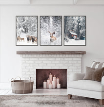 Load image into Gallery viewer, Framed Lovely 3-Piece Set Of Winter Forestside Posters above the fireplace