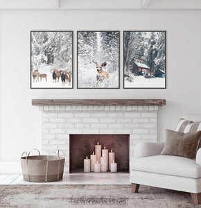 Framed Lovely 3-Piece Set Of Winter Forestside Posters above the fireplace