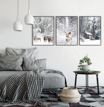 Load image into Gallery viewer, Lovely 3-Piece Set Of Winter Forestside Framed Posters in the bedroom