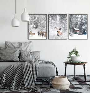 Lovely 3-Piece Set Of Winter Forestside Framed Posters in the bedroom