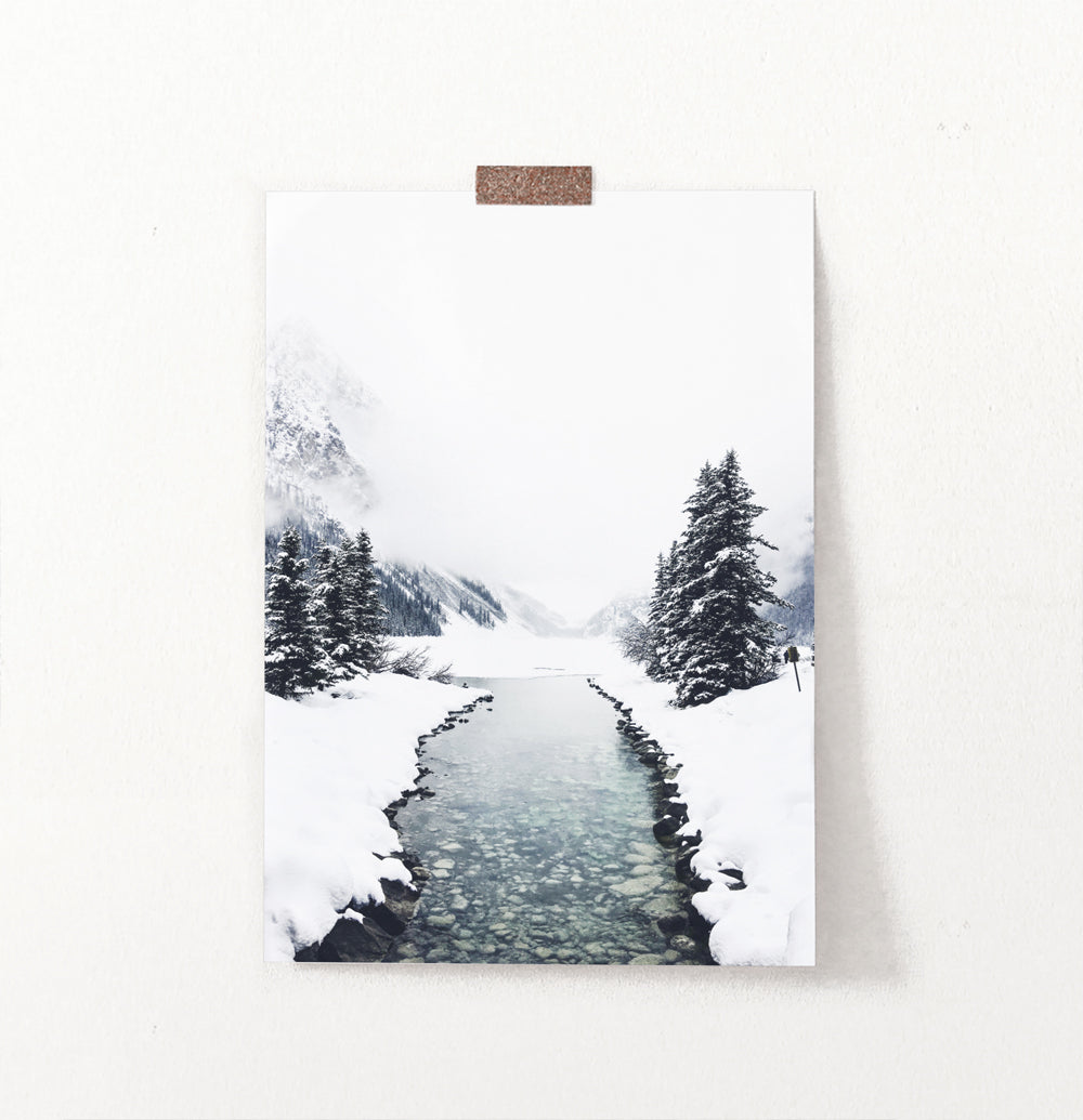 Calm Mountain River Among Snow and Spruces Wall Art