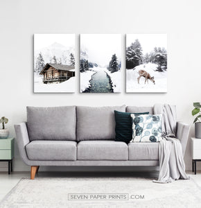 Icy River, Coutry House And Deer 3 Piece Canvas Wall Art
