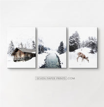 Load image into Gallery viewer, Icy River, Coutry House And Deer 3 Piece Photo Art Canvases