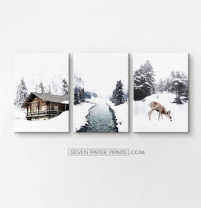 Icy River, Coutry House And Deer 3 Piece Photo Art Canvases