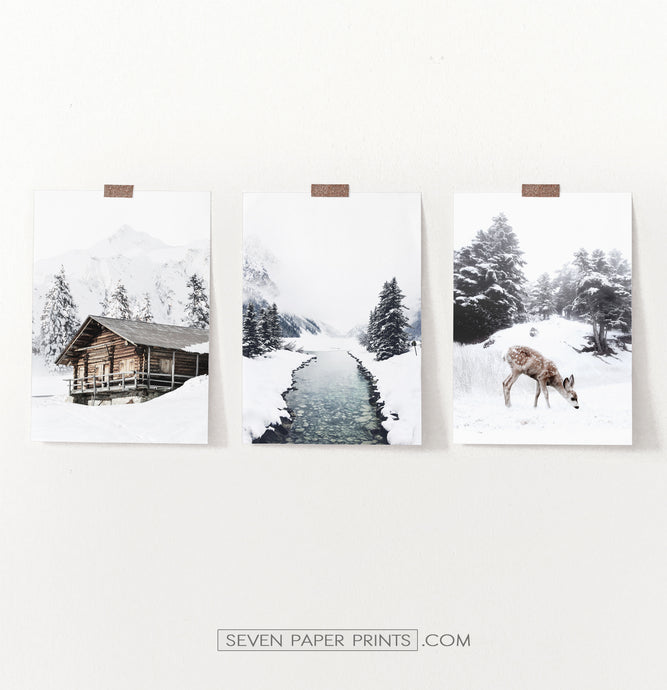 Snowy Country River, House, And Deer - Unframed Set of 3 Photo Prints