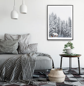 Black-framed in a gray&white bedroom