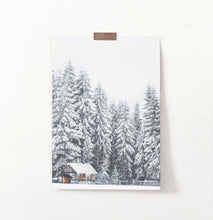 Load image into Gallery viewer, Snowy Spruce Forest Little House Wall Art