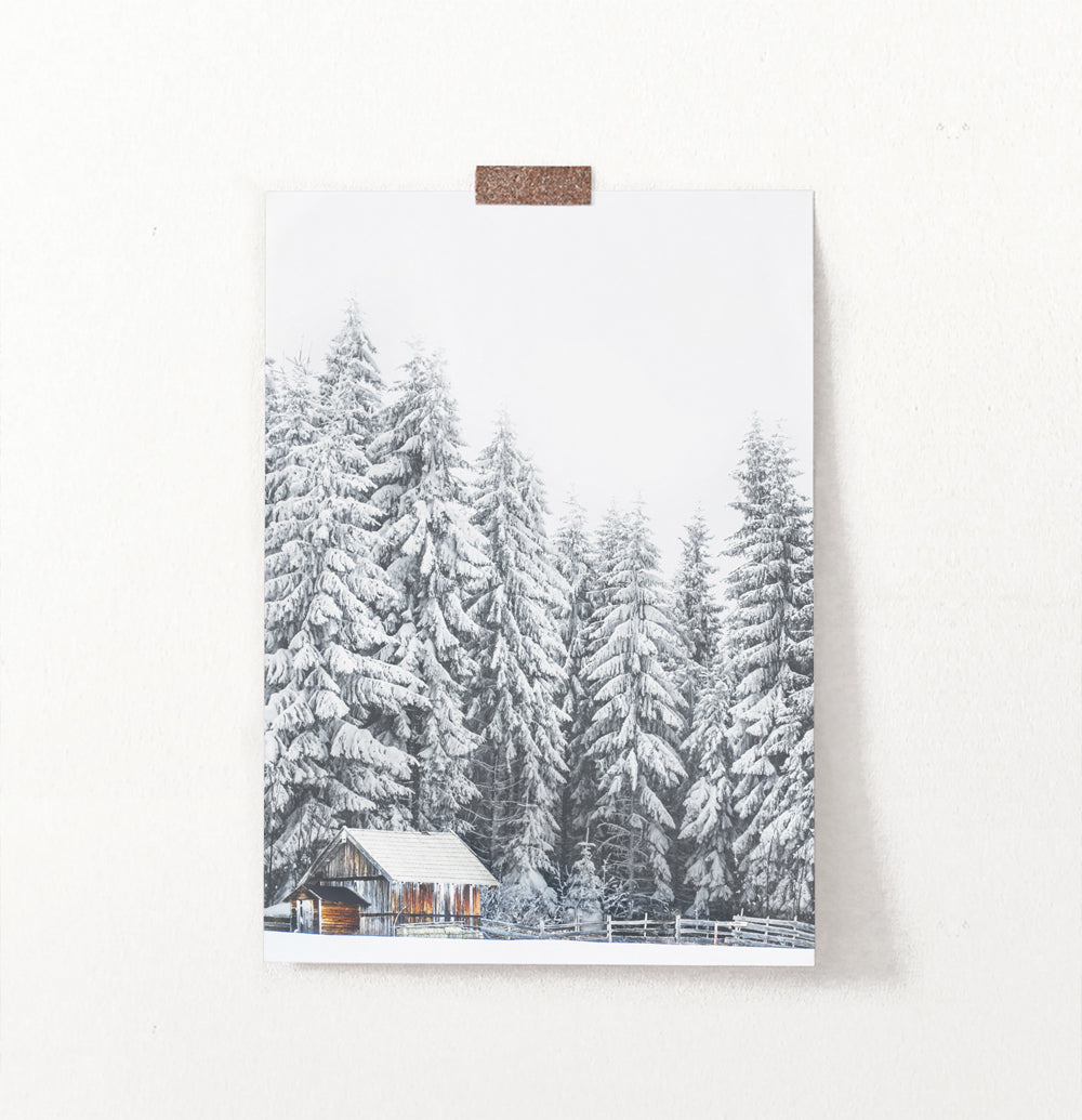 Snowy Spruce Forest Little House Wall Art