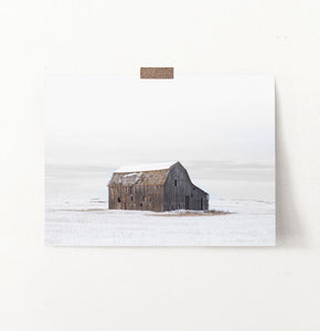Winter Barn On Snow-Covered Field Wall Decor