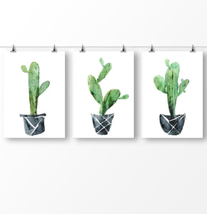 Cactus wall art, Succulent Botanical Print, Triptych wall art, Cactus watercolor, Cactus poster, Botanical Print, 3 Piece Wall Art