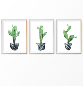 Green Mexican Cactus in Pots Watercolor Set of 3
