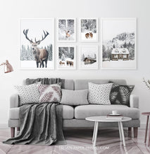 Load image into Gallery viewer, Reindeers, Sheep and Houses - Winter White-Framed 6-Piece Set in the living room