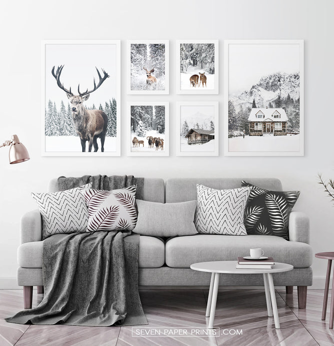 Reindeers, Sheep and Houses - Winter White-Framed 6-Piece Set in the living room