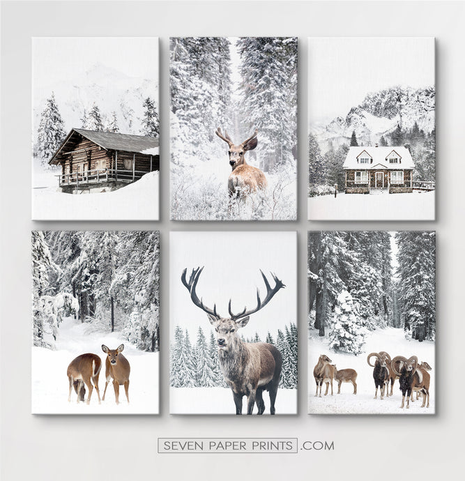 6-Piece Canvas Winter Forest Animals and Houses Wall Art