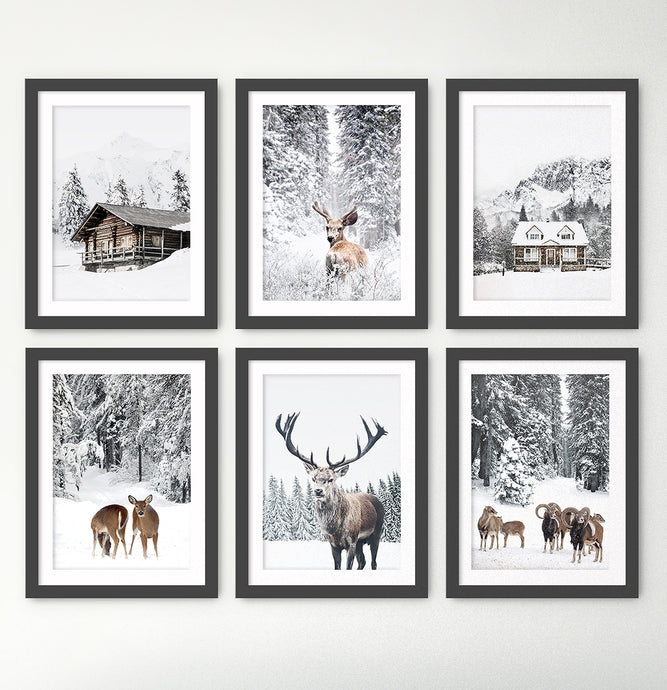 Snowy House, Deer, Cabin, Reindeers and Sheep 6-Piece Framed Wall Art Set