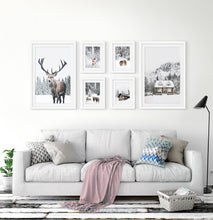 Load image into Gallery viewer, Reindeers, Sheep and Houses - Winter Double-White-Framed 6-Piece Set in the living room 2