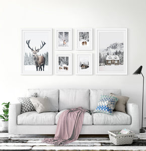 Reindeers, Sheep and Houses - Winter Double-White-Framed 6-Piece Set in the living room 2
