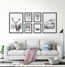 Load image into Gallery viewer, Reindeers, Sheep and Houses - Winter Black&White-Framed 6-Piece Set in the living room 2