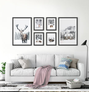 Reindeers, Sheep and Houses - Winter Black&White-Framed 6-Piece Set in the living room 2