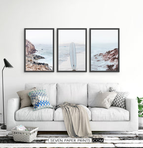 Ocean Rock and Surfboard - Framed Print Set