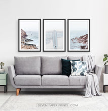 Load image into Gallery viewer, Ocean Rock and Surfboard - Framed Print Set