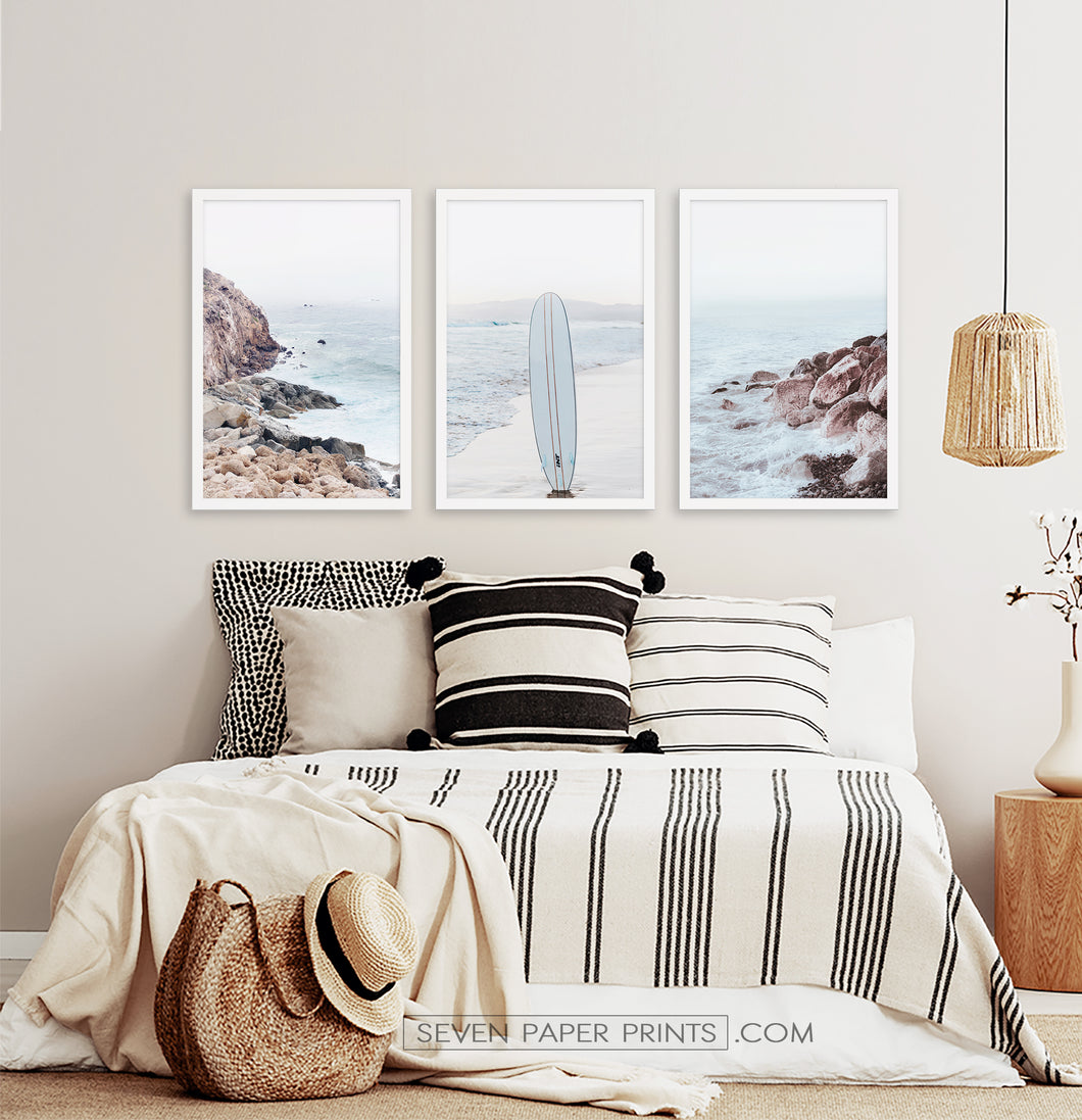 Rocky beach in white frames for bedroom