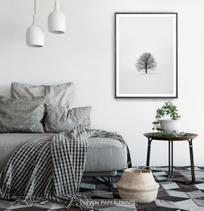 Black-framed in a white&gray bedroom