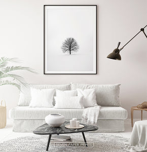 Black-framed with white sofa