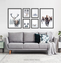 Load image into Gallery viewer, Set of 6 Framed Winter Prints with Animals and Snowy Nature