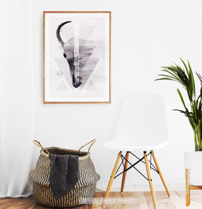 A Half of a Bull Skull On Triangles Watercolor Wall Art Print