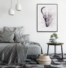 Load image into Gallery viewer, A Half of a Bull Skull On Triangles Watercolor Wall Art Print