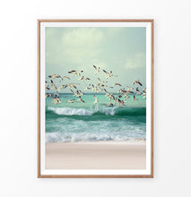 Load image into Gallery viewer, Flying Seagulls Coastal Print with Green Water Waves