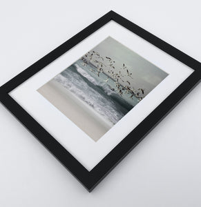 A framed print with seagulls flying above the ocean shore