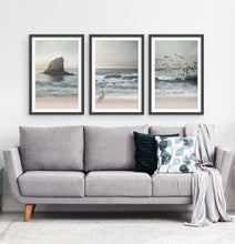 Load image into Gallery viewer, Three framed prints with a stormy ocean landscape