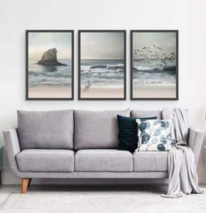 Three framed prints with a stormy ocean landscape 3