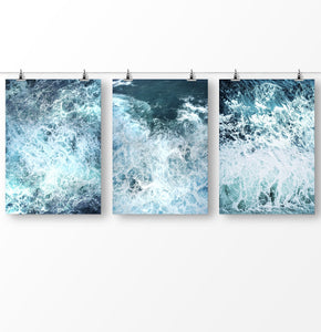 Ocean Wave, Sea photography set of 3 prints