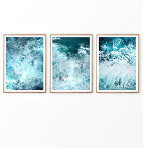Aerial View on Ocean Waves Photography Set of 3 Pieces
