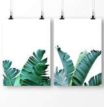 Load image into Gallery viewer, Tropical plant decor, banana leaf prints, green leaves, botanical prints