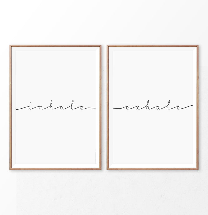 Inhale Exhale Motivational Yoga Diptych