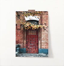 Load image into Gallery viewer, Grunge Red Barred Door In Brick Wall Photography Art