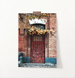 Grunge Red Barred Door In Brick Wall Photography Art